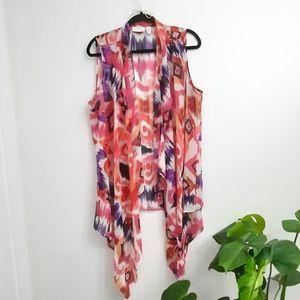Chicos Printed waterfall Sleeveless Kimono Vest